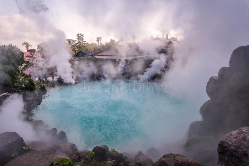 Hot spring (Hell) blue water in Umi-Zigoku in Beppu Oita, Japan.  royalty free stock photography