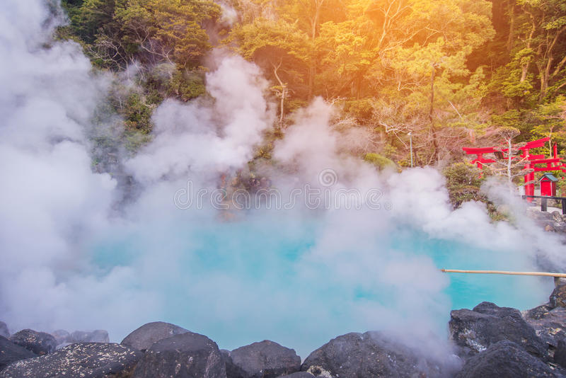 Hot spring & x28;Hell& x29; blue water in Umi-Zigoku in Beppu Oita, Japan stock photo