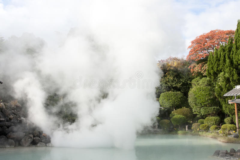 Hot spring in japanese garden royalty free stock photo
