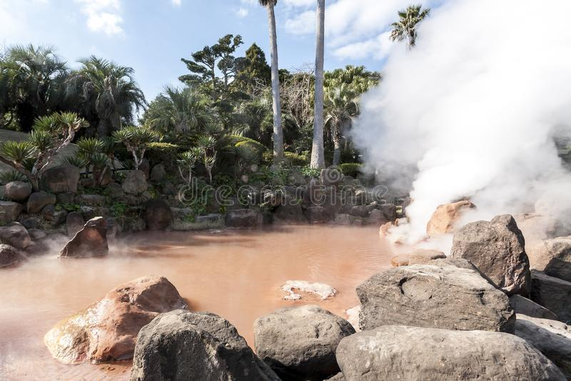 Hot spring Jigoku with boiling mud in volcanic pool in Beppu, Japan royalty free stock photography