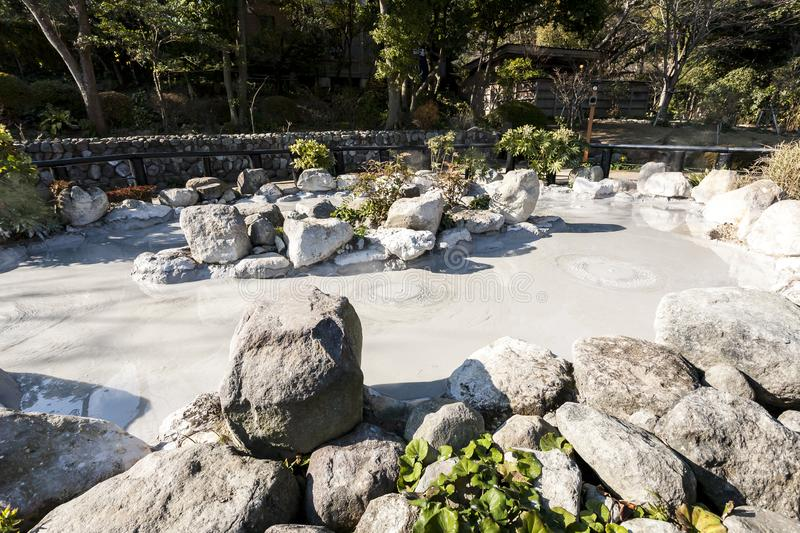 Hot spring Jigoku with boiling mud in volcanic pool in Beppu, Japan. Hot spring Jigoku in Japan with boiling mud in volcanic pool in Beppu stock photo