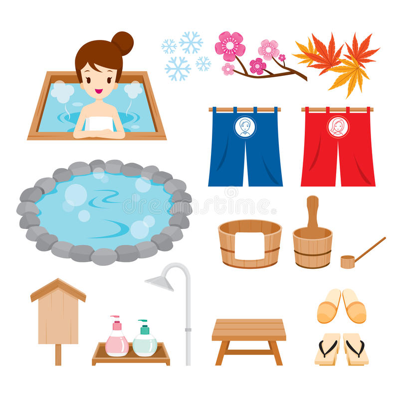 Hot Spring Objects Icons Set. Bath Onsen Japanese Culture Healthy Season Body vector illustration