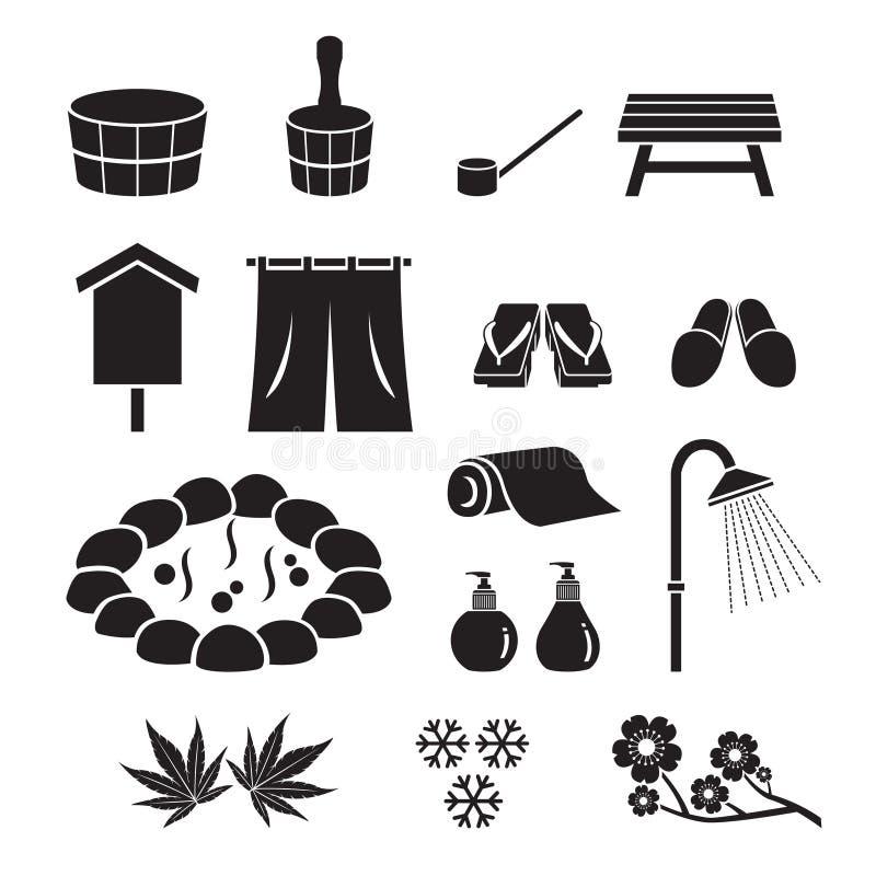 Hot Spring Objects Icons Set, Monochrome. Bath Onsen Japanese Culture Healthy Season Body stock illustration