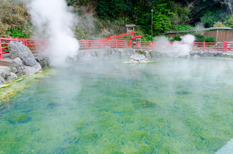 Hot spring pool in Kamado Jigoku, Beppu stock photography