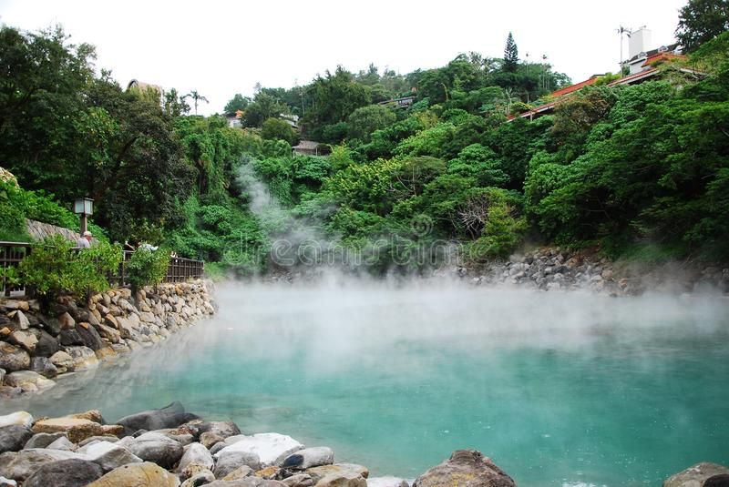 Hot Spring in Taipei. The hot spring named Thermal Valley located in Beitou of Taipei stock photo