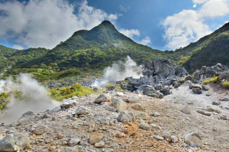 Hot spring vents at Owakudani valley at Hakone in Japan royalty free stock photos