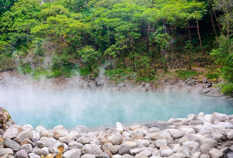 Hot spring water boiling, blue pond in thermal valley geothermal valley, Xinbeitou, Taipei, Taiwan. Hot spring water boiling, blue pond in thermal valley hell stock images