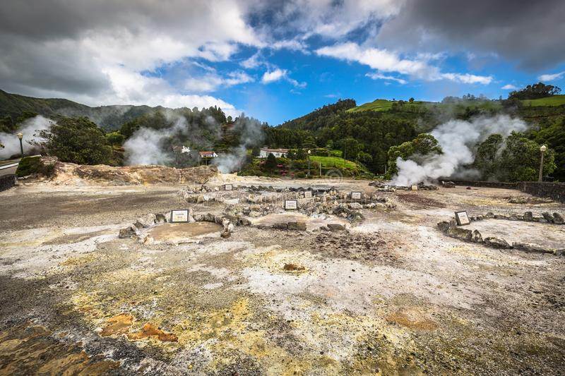 Hot spring waters in Furnas, Sao Miguel. Azores. Portugal.  royalty free stock photos
