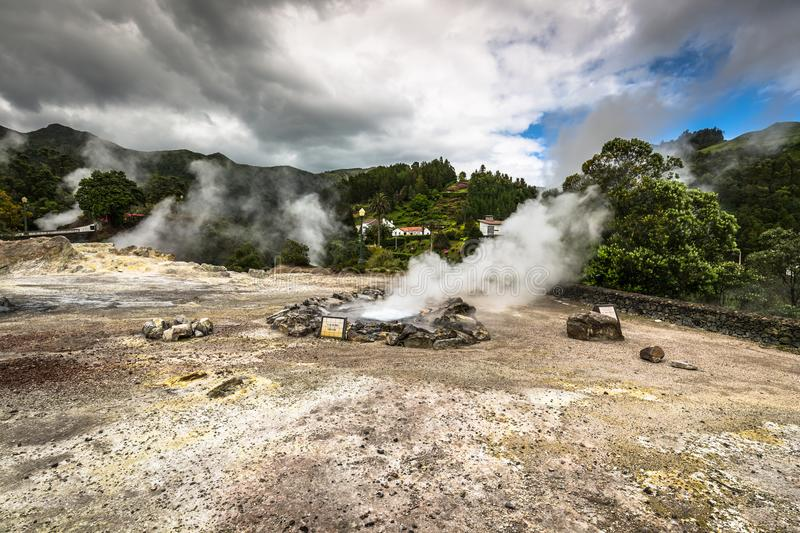 Hot spring waters in Furnas, Sao Miguel. Azores. Portugal.  stock photo