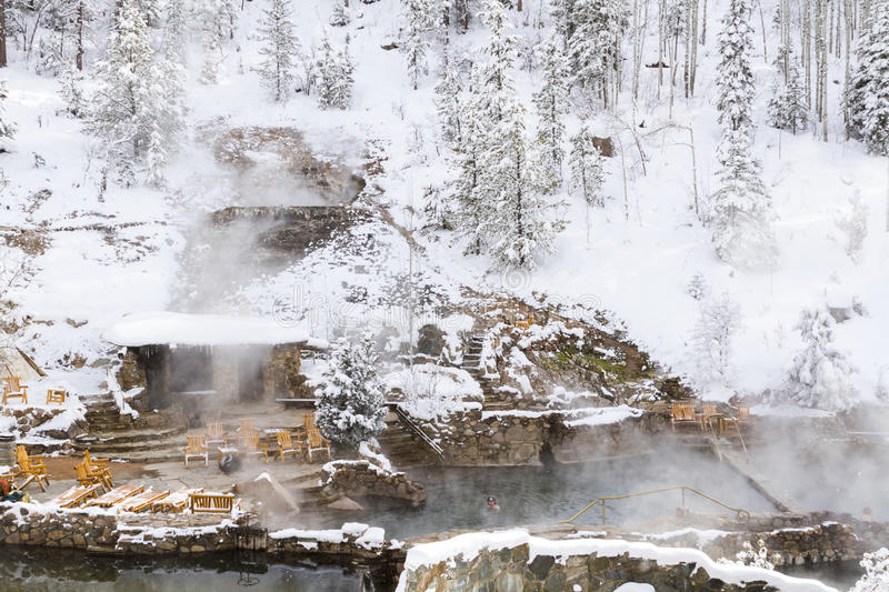 Hot springs. Strawberry Hot Springs surrounded by winter forest royalty free stock photos