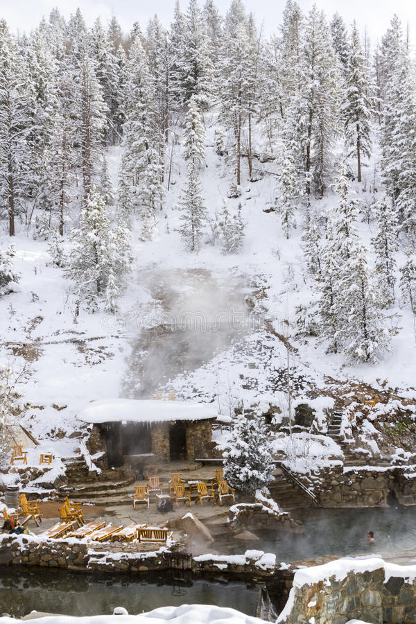 Hot springs. Strawberry Hot Springs surrounded by winter forest stock photo