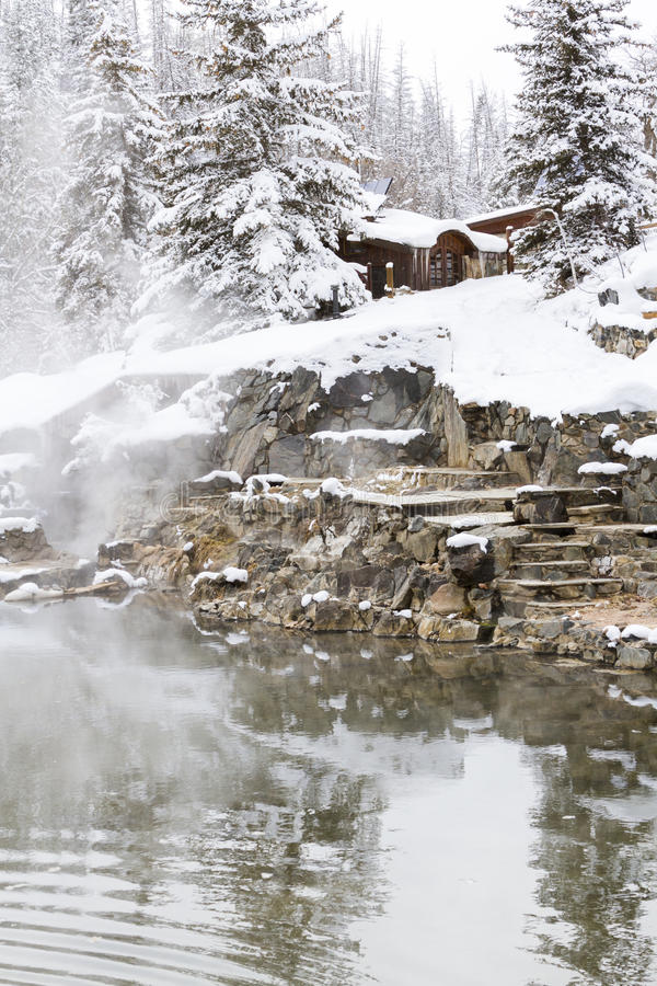 Hot springs. Strawberry Hot Springs surrounded by winter forest stock photos