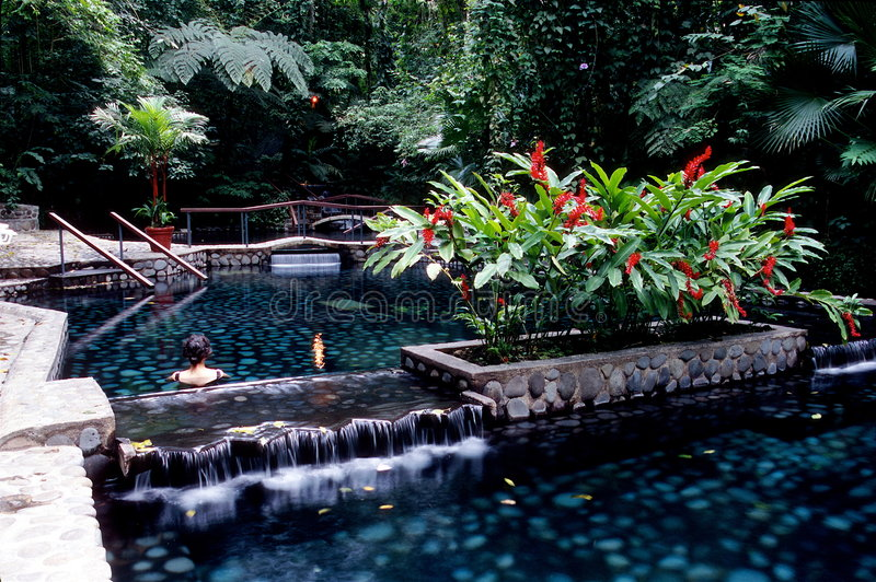 Hot Springs. Ecotermales Hot Springs in La Fortuna (near Arenal Volcano), Costa Rica stock photography
