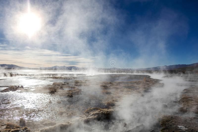 Aguas termales de Polques, hot springs with a pool of steaming natural thermal water in Bolivia stock images