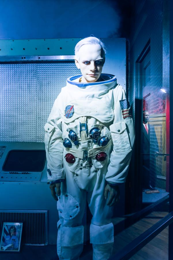 A waxwork of Neil Alden Armstrong display at Josephine Tussaud royalty free stock images