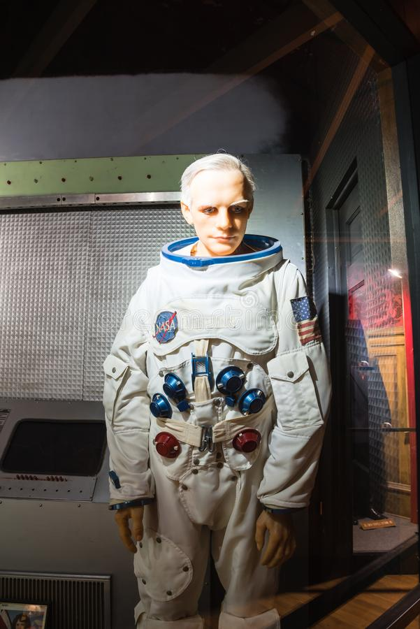 A waxwork of Neil Alden Armstrong display at Josephine Tussaud stock photography