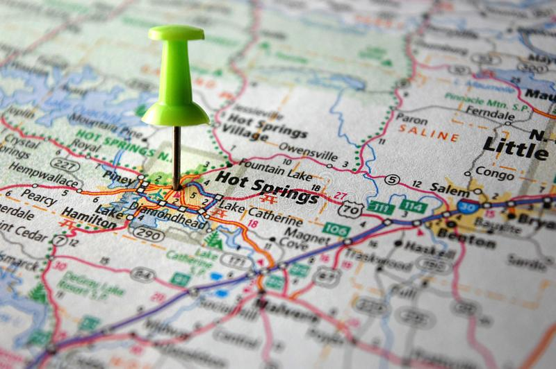 Hot Springs, Arkansas. A map of Hot Springs, Arkansas marked with a push pin royalty free stock image