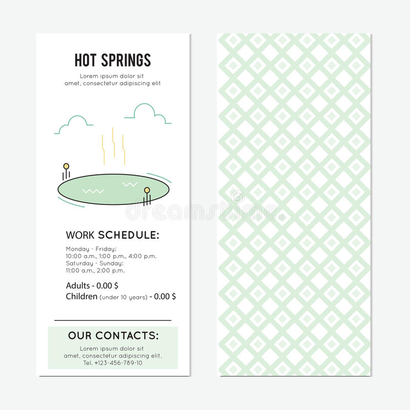 Hot springs banner. Hot springs. Thermal lake vector vertical banner template. The tour announcement. For travel agency products, tour brochure, excursion banner vector illustration