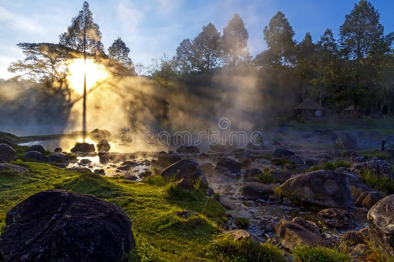 Hot springs beautiful with sunrise and fog royalty free stock image