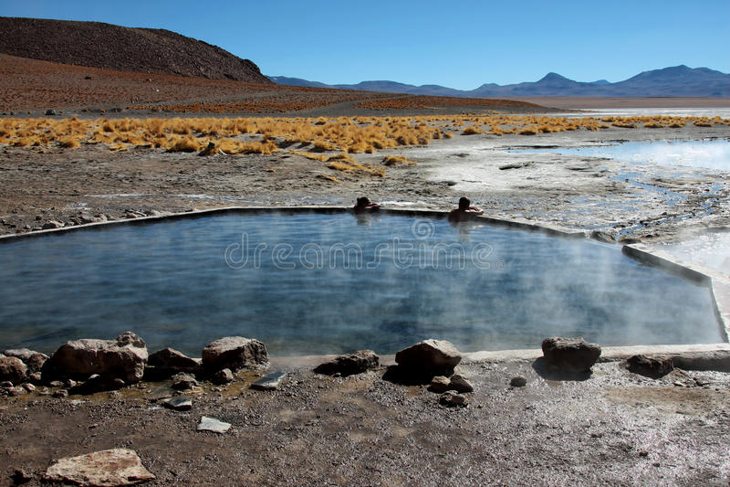 Hot springs in bolivia stock photography