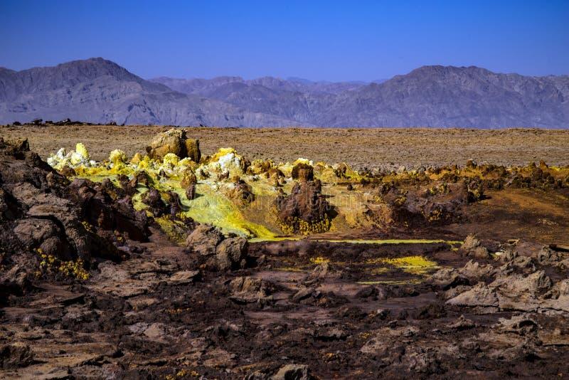 Hot Springs em Dallol, deserto de Danakil, Etiópia fotografia de stock