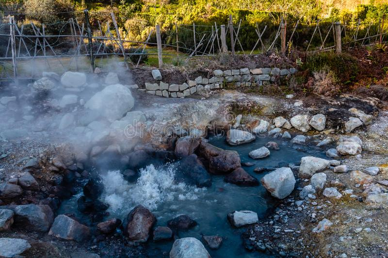 Hot springs, Furnas, Sao Miguel Island, Azores, Portugal royalty free stock images