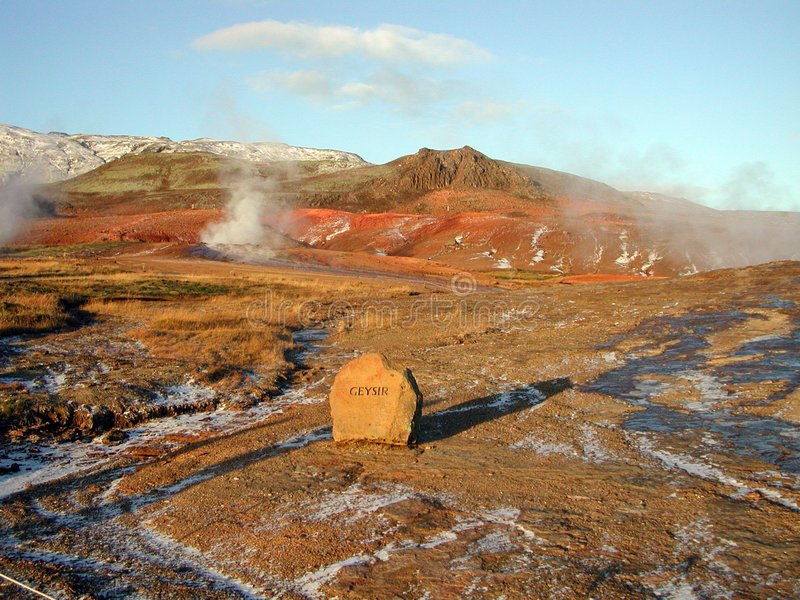 Hot springs in Geysir, Iceland stock photos