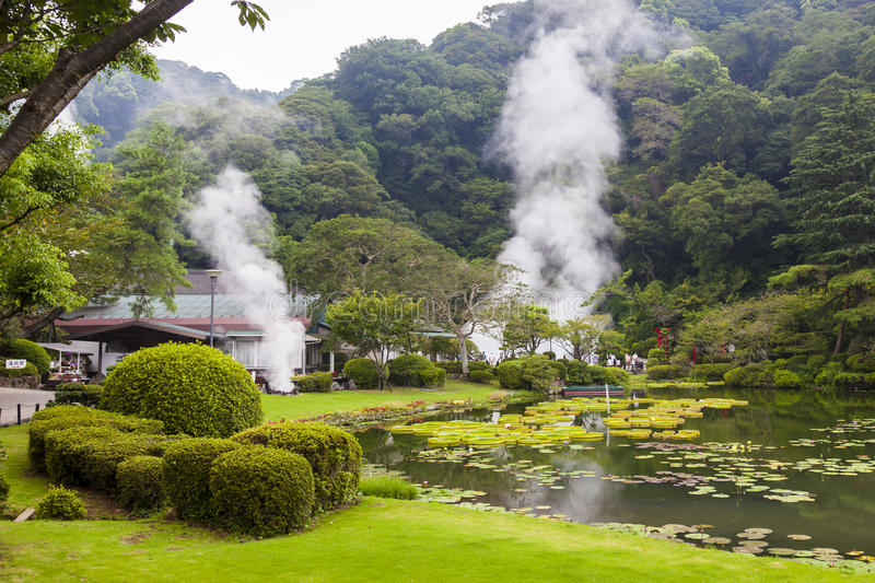 Hot springs in Japan. One of the most famous hot springs in Beppu, so called'sea hell'. Kyushu island, Oita, Japan stock photo