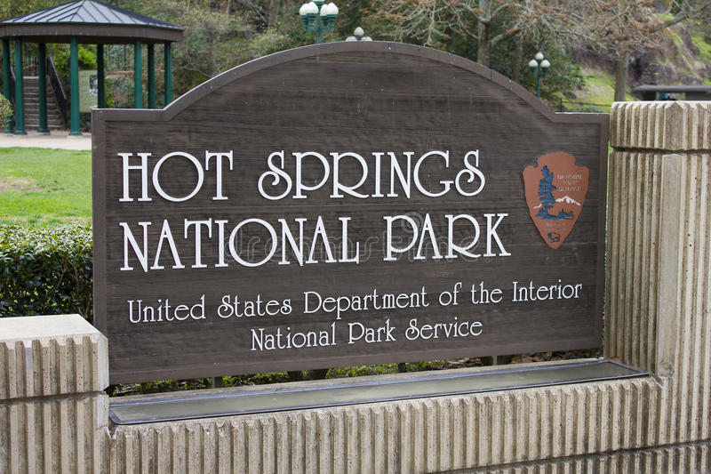 Hot Springs National Park Sign Arkansas stock images