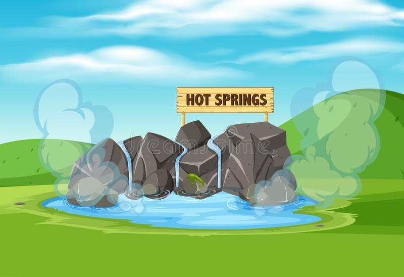 A hot springs in nature. Illustration royalty free illustration