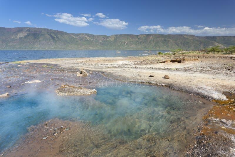 Hot Springs no lago Bogoria em Kenya imagem de stock