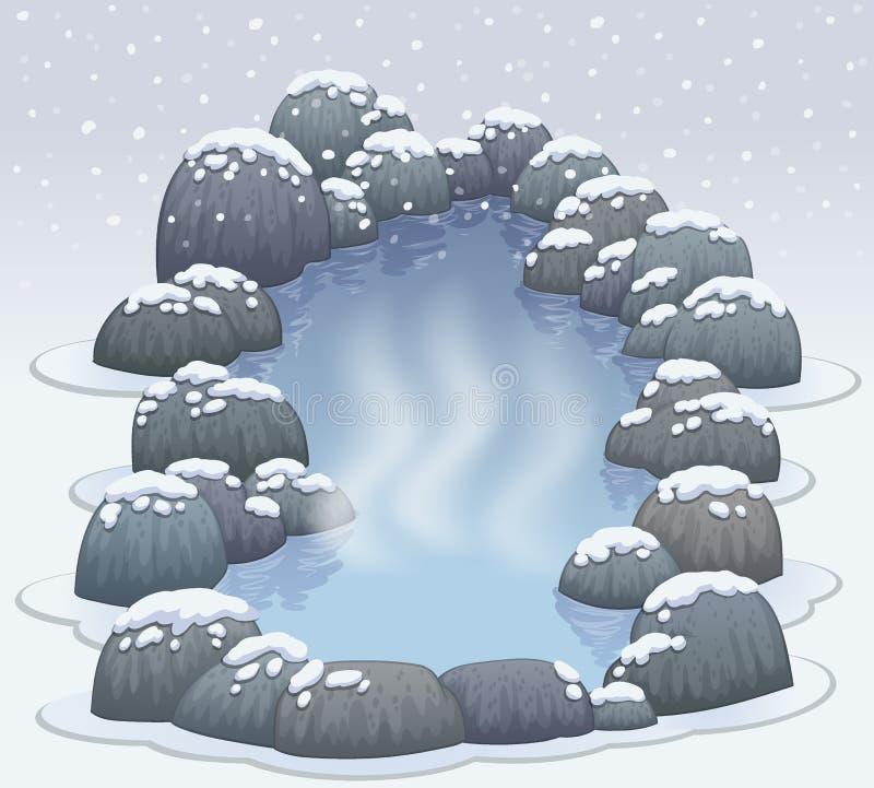 Hot springs onsen in snow winter. Illustration stock illustration