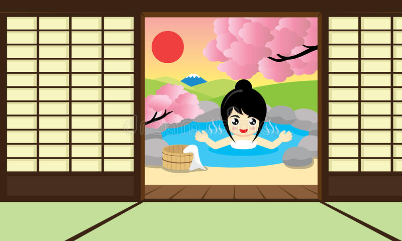 Hot Springs room. Vector illustration. Cheerful girl enjoy Japanese Hot Springs and views of Mount Fuji. Vector illustration royalty free illustration