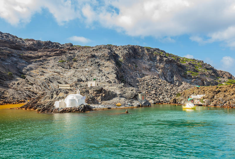 Hot springs. Of Santorini islands, Greece royalty free stock photo