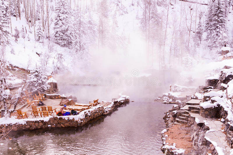 Hot springs. Strawberry Hot Springs surrounded by winter forest stock images