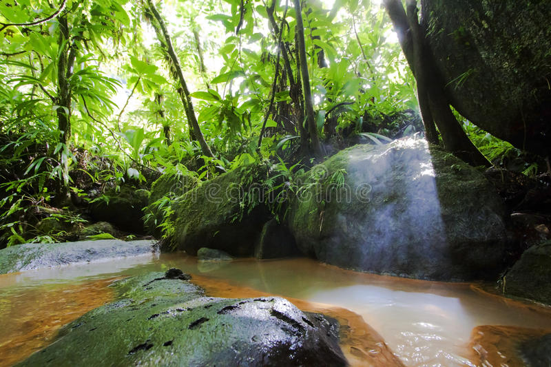 Hot springs and sulfur pools in Dominica royalty free stock images