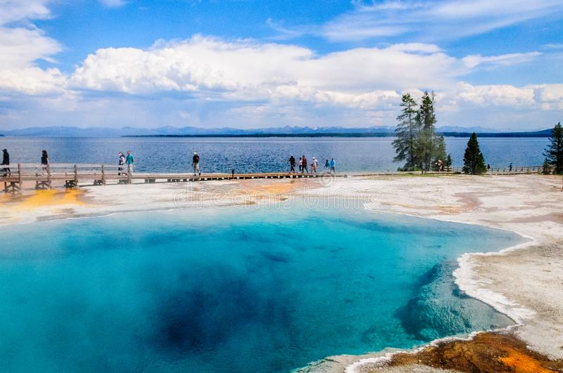 Clear lakes at West Thumb. Hot springs in the West Thumb area in Yellowstone National Park royalty free stock photos