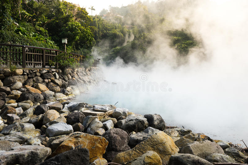 Hot steam at thermal valley stock photo