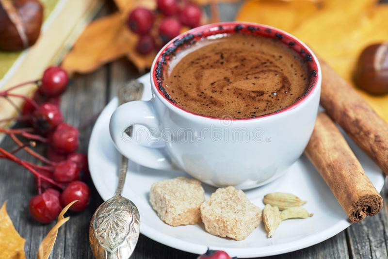 Hot steaming cup of coffee royalty free stock image