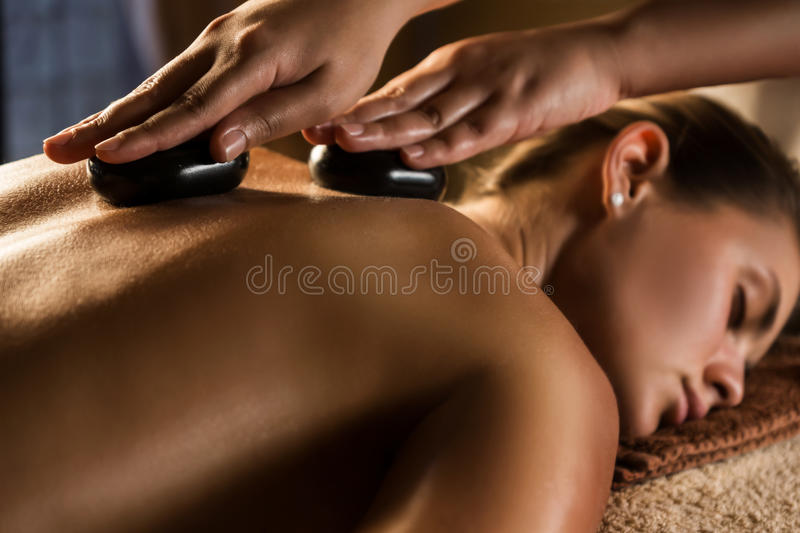 Hot stone therapy royalty free stock photo