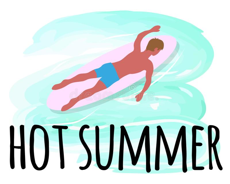 Hot Summer Activities, Man Swimming on Surfboard royalty free illustration
