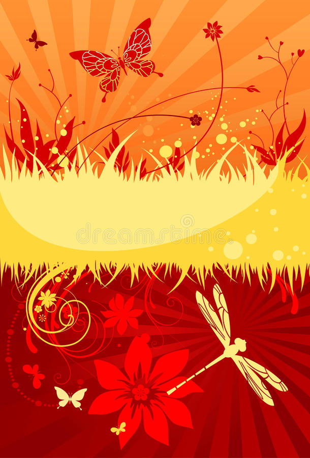 Hot summer background. With space for text vector illustration
