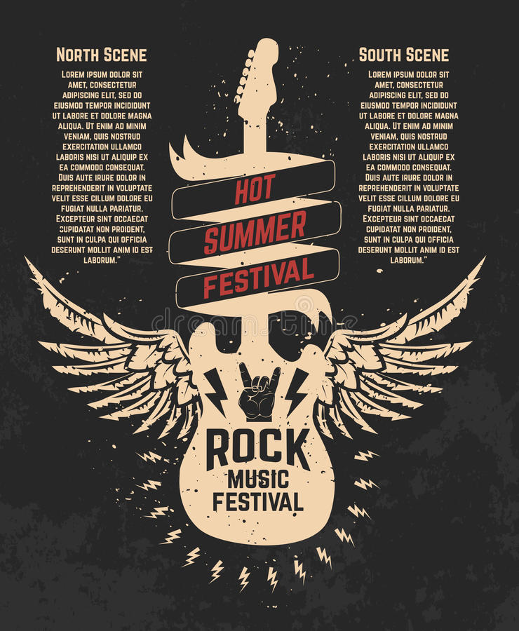 Hot summer festival. Guitare with wings. Rock music festival. De royalty free illustration