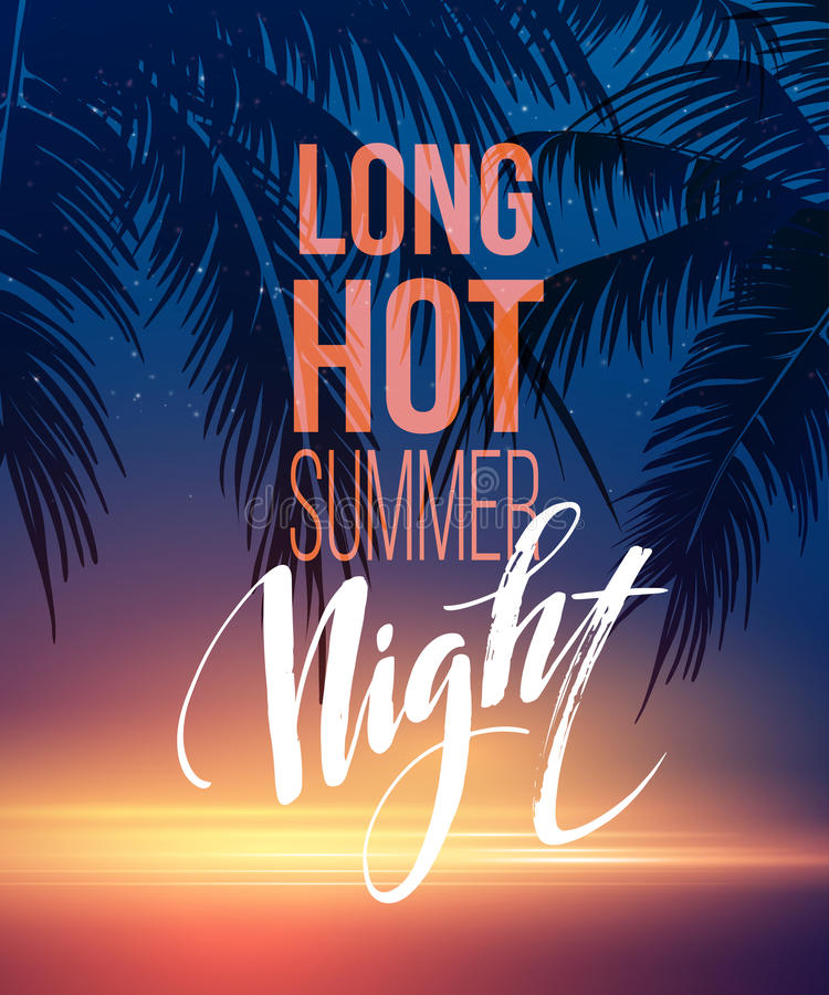 Hot Summer Night Party Poster Design with typographic elements on the sea beach background . Vector illustration royalty free illustration