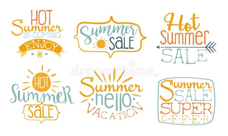 Hot Summer Sale Labels Set, Super Offer, Enjoy Summer Vacation Hand Drawn Badges Vector Illustration royalty free illustration