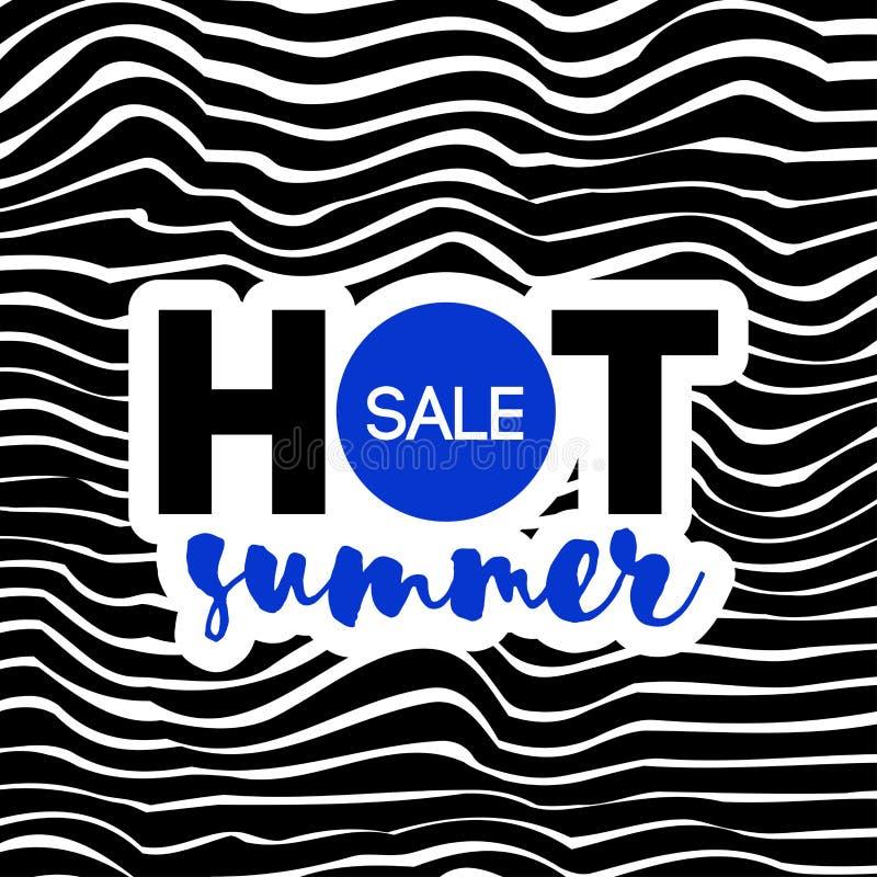 Hot summer sale text on wavy background. Elegant modern design stock illustration