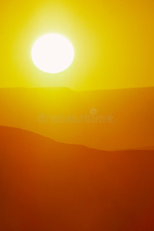 Download Hot Summer Sunrise With Large Sun And Bright Yellow Sky Stock Image - Image: 35016963