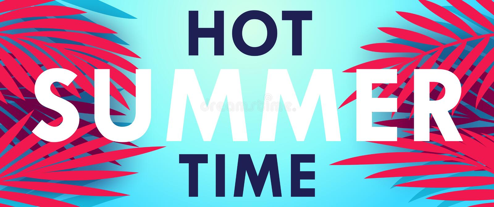 Hot Summer Time. Creative banner. With exotic palm leaves and lettering. Vector template stock illustration