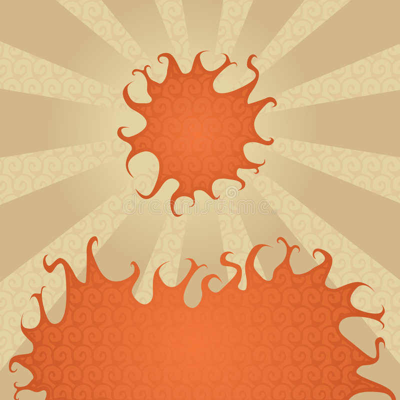 Hot sun and fire vector illustration