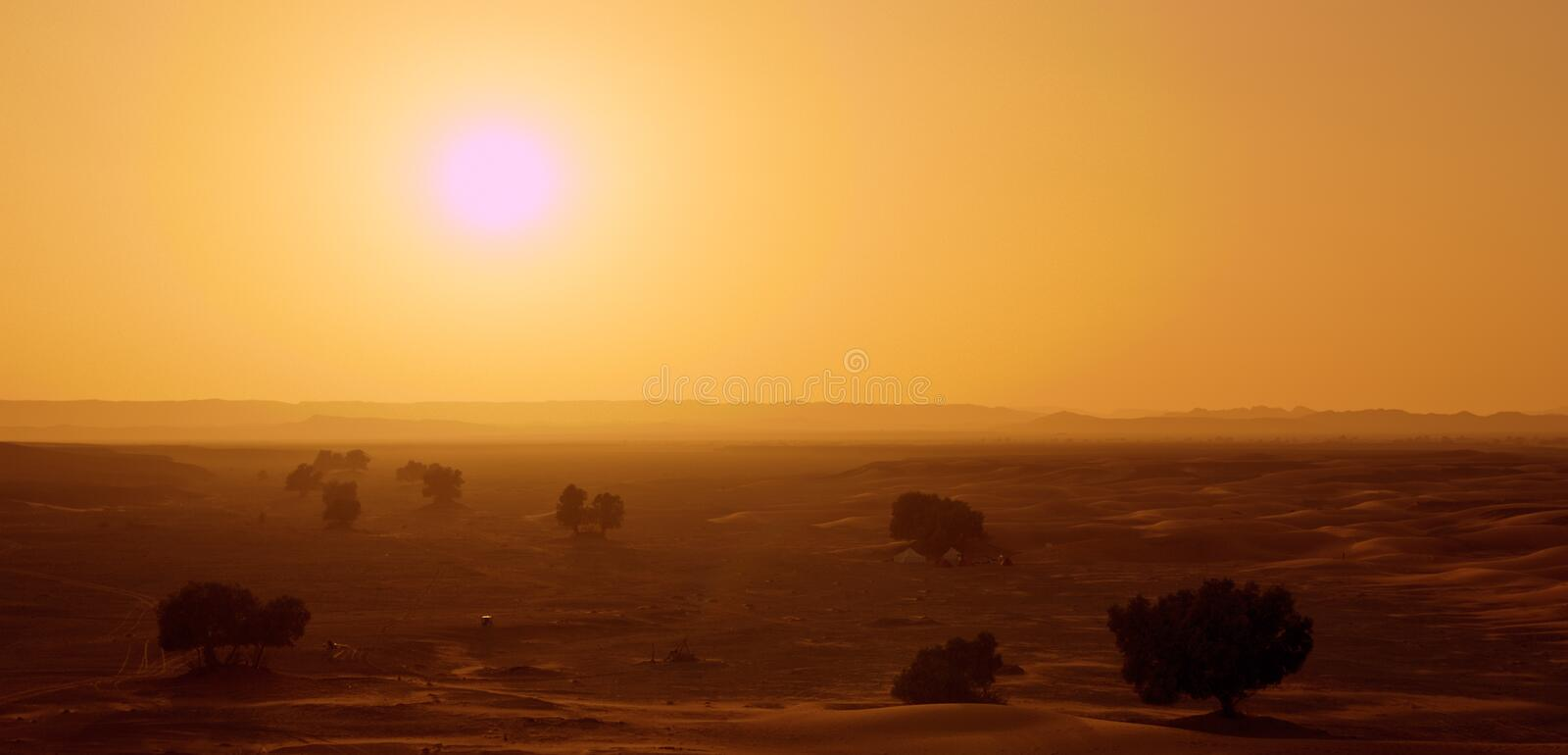 Hot Sun In Morocco Near Erg Chebbi Royalty Free Stock Images